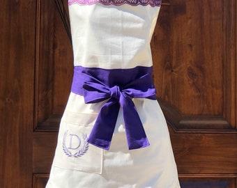 Womens apron, personalized apron, wedding apron, monogrammed apron ,full apron,  apron, Mother's gift, Christmas gift