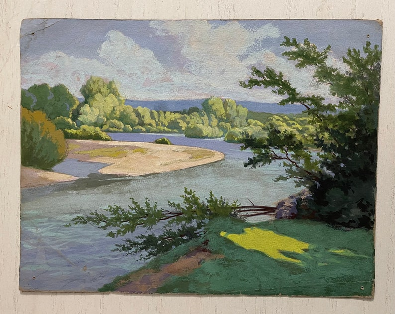The Moselle river near Bayon; France antique painting 1930s French gouache painting on paper