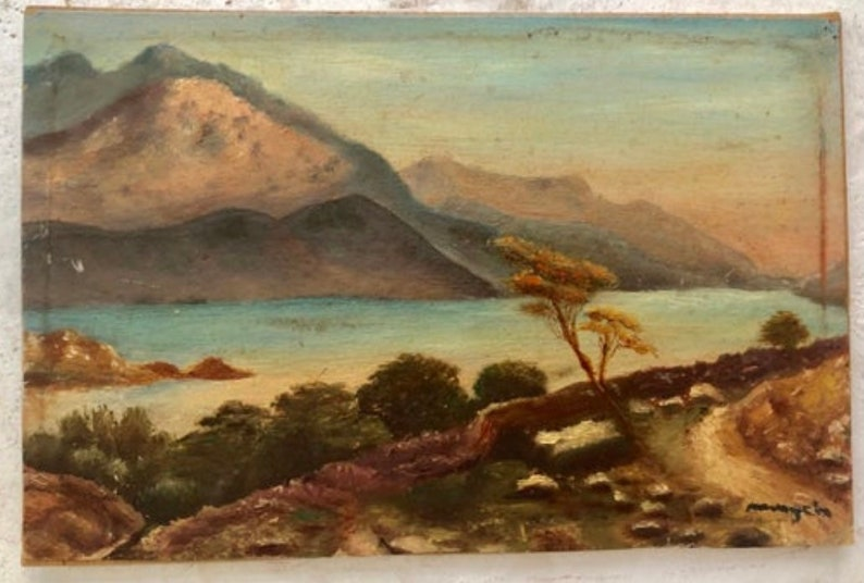 Lake scene in France 1930s French oil painting on wood
