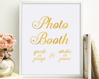Wedding Photo Booth Sign, Gold Foil Wedding Photobooth, Photo Booth Sign Printable, Wedding Decor Sign, Wedding Signage Instant Download