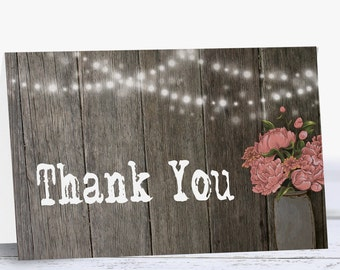 Printable Bridal Shower Thank You Cards, Rustic Wedding Thank You Card, Birthday Thank You, Instant Download
