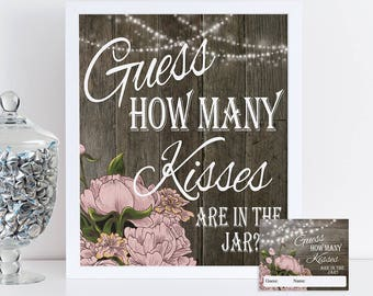 Guess How Many Kisses, Bridal Shower Game, Candy Guessing Game Printable Rustic Wedding Shower Game, Instant Download Party Game