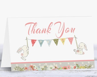 Thank You Card, Baby Shower Thank You Cards Girl, Pink Thank You Cards Baby Printable, Bunny Girl Baby Shower, Instant Download