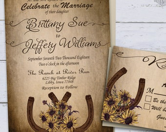Sunflower Country Wedding Invitations, Printable Rustic Wedding Invitations, Summer Wedding, Western Wedding Invites, Horseshoe