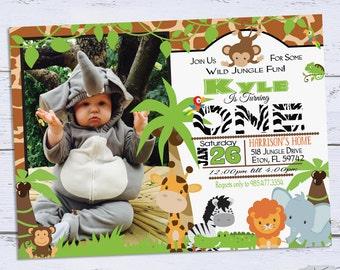 Jungle birthday invitations chalkboard safari birthday etsy jungle birthday invitations safari birthday invitation 1st birthday zoo birthday party invite printable first birthday invites filmwisefo