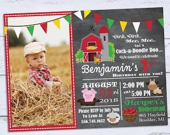 Printable Barnyard Birthday Invitations, Photo 1st Birthday Invitations, Farm Birthday Party Invitation, Boy First Birthday Invites