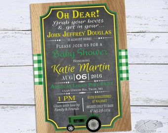 Tractor Baby Shower Invitation, Farm Baby Shower Invitations Printable, Boy Baby Shower Invite, Green and Yellow Baby Shower Invites DIY