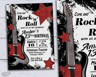 Music Birthday Invitations DIY Kids Invite 13th Party 18th Printable Sweet 16 Red Glitter Guitar