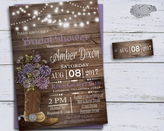 Country Bridal Shower Invitations Cowboy Boots Wedding Etsy