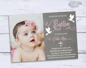 items similar to christening invitation baptism invitation