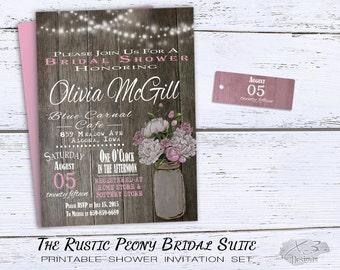 mason jar bridal shower invitation rustic wedding shower invitations printable summer shower invite string lights spring pink peonies