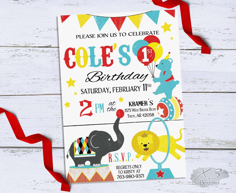 Circus Birthday Invitation Printable Circus 1st Birthday | Etsy