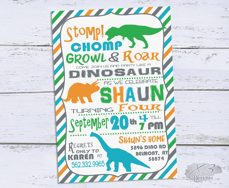 Dinosaur Birthday Invitation Dinosaur Party Invitation | Etsy