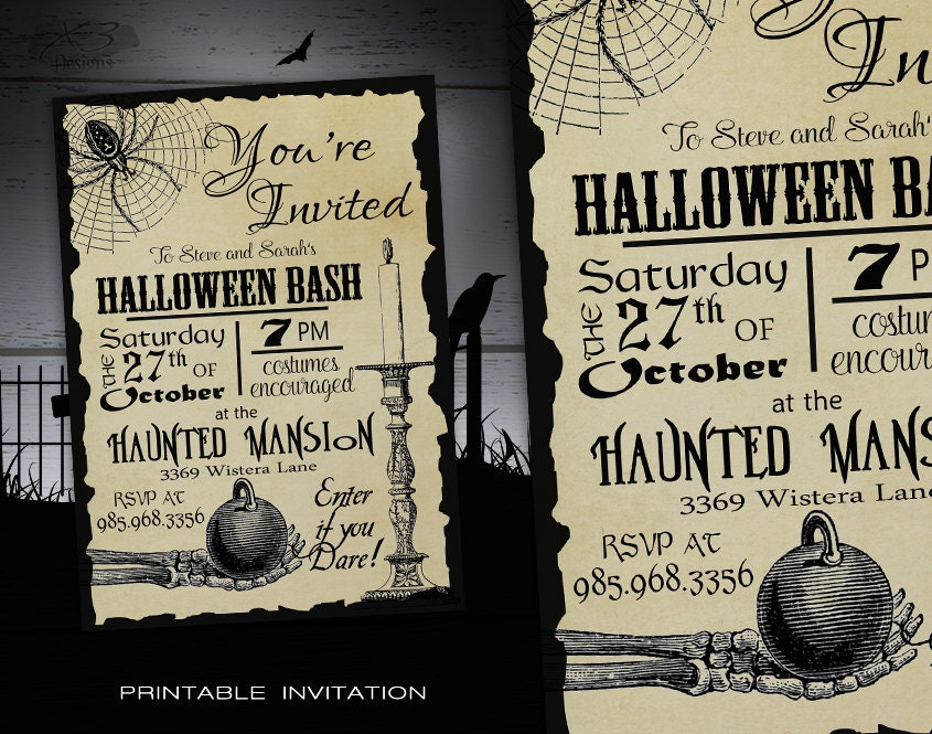 Zany image with regard to free printable halloween invitations for adults