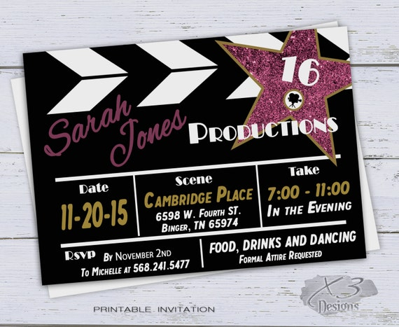 Printable sweet 16 birthday invitations surprise 30th etsy image 0 filmwisefo