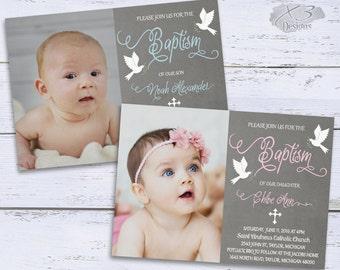 Printable Baptism Invitation Design - Boy / Girl Baptism Invitations | Christening | Photo Baptism Invites Baby Boy Baptism Invite