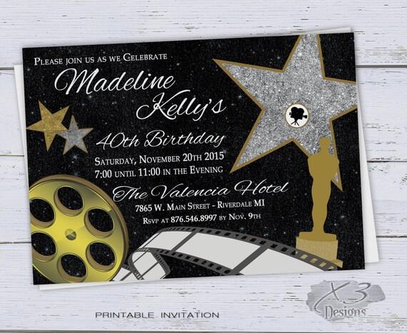 Invitaciones De Cumpleaños Para Imprimir Diy Dulce 16 50 Invitaciones De Cumpleaños Fiesta Hollywood Película 40 A Invitación De Cumpleaños