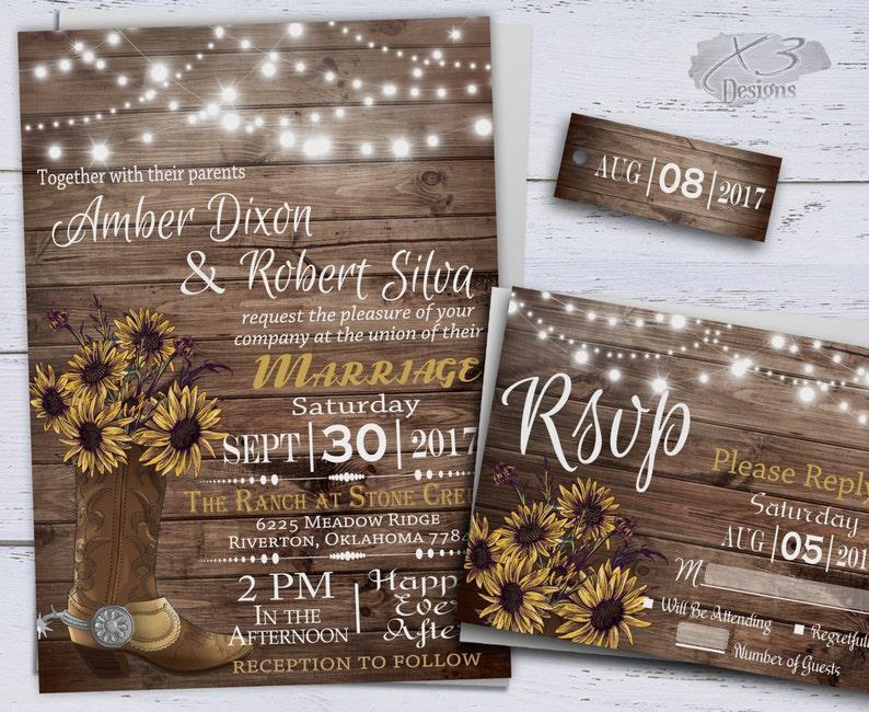 photograph regarding Printable Rustic Wedding Invitations named Sunflower Marriage ceremony Invites, Printable Rustic Wedding day, Place Wedding ceremony invitation, Western Wedding day, Cowboy Boot String Lighting