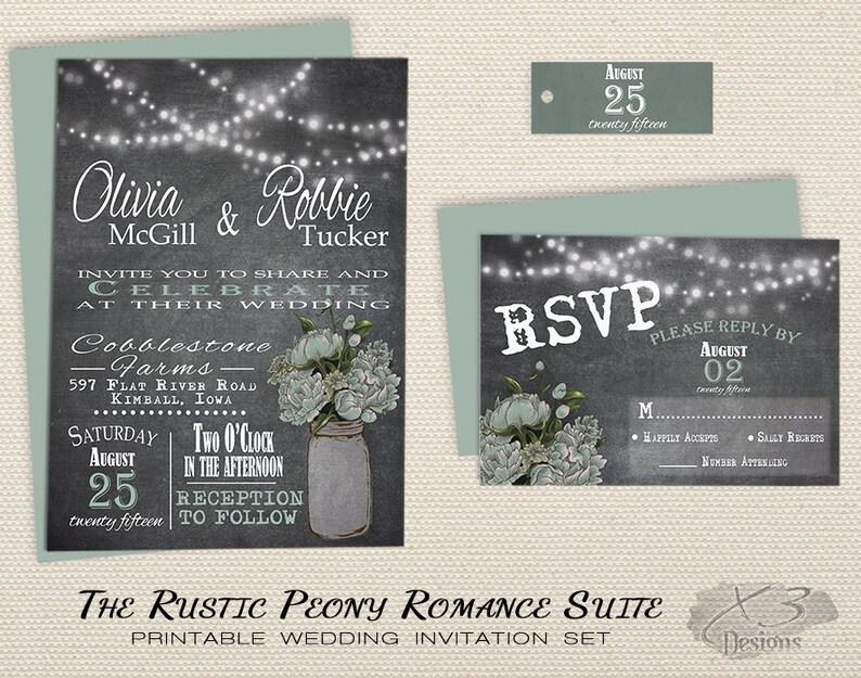 Mason Jar Wedding Invitation Printable Rustic Chalkboard Wedding Invitation Spring Country Wedding Invite Mint Green Peony String Lights