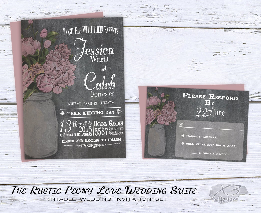 Summer Wedding Invitations: DIY Rustic Wedding Invitations Printable Summer Wedding