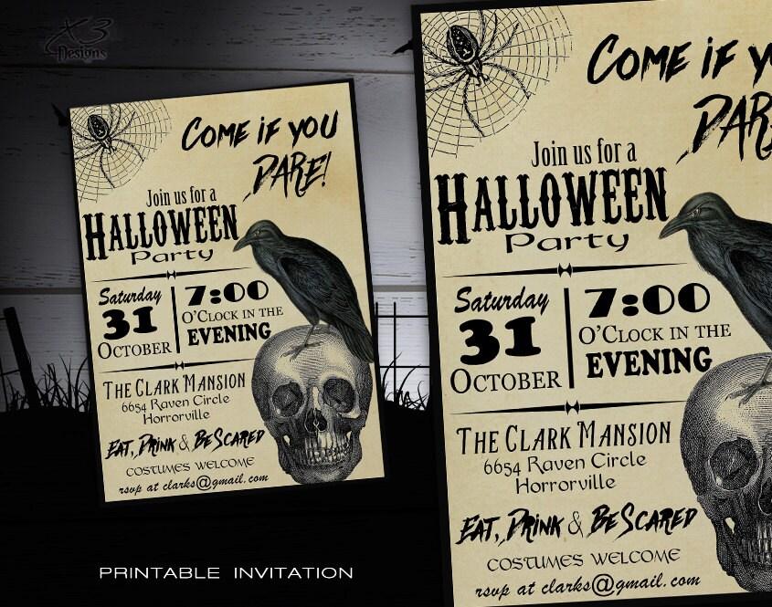 Printable adult halloween invitations