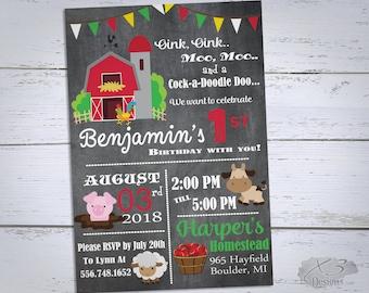 Farm Birthday Invitation, Printable Barnyard Birthday Invitations, First Birthday Invitations, Boy 1st Birthday Invites, 2nd Birthday