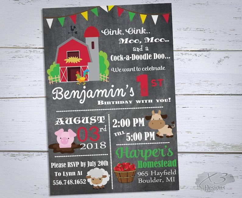 Farm Birthday Invitation Printable Barnyard