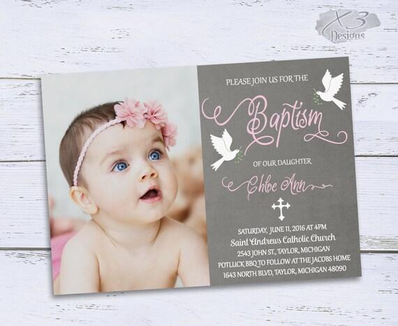 Printable Baptism Invitations Photo Baptism Invites Girl Baptism Invitations Christening Invitation Baby Girl Baptism Invite
