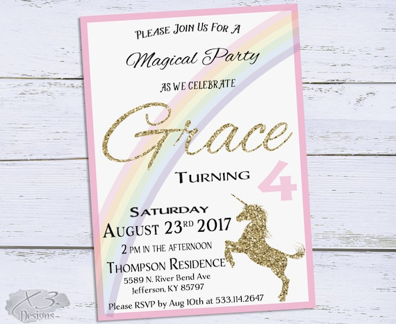 Unicorn Birthday Invitation Pink And Gold Glitter Rainbow
