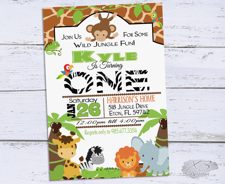 Jungle Birthday Invitations Safari 1st Brithday Invitation Zoo Birthday Party Invite Printable First Birthday Invites