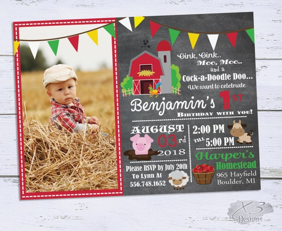Printable Barnyard Birthday Invitations Photo 1st Birthday Etsy