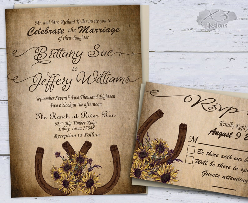 Sunflower Country Wedding Invitations Printable Rustic image 0