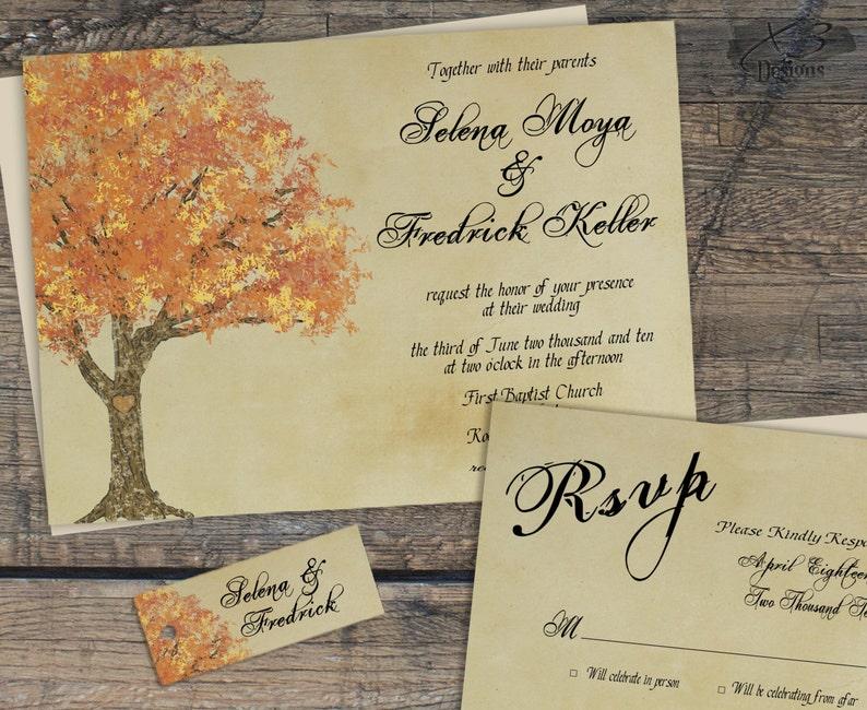 Rustic Fall Wedding Invitation Suite Autumn Barn Wedding image 0