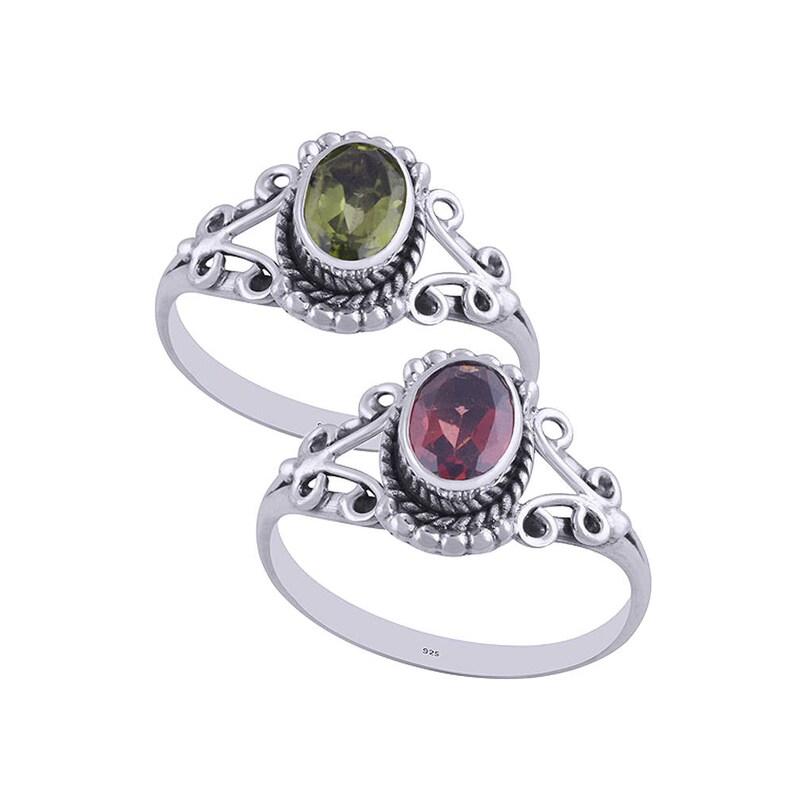 Hydra red garnet ring Gemstone sterling silver ring