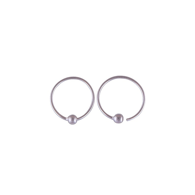 Silver hoop ball earrings Boho sterling silver hoop earrings Silver hoop ear piercing