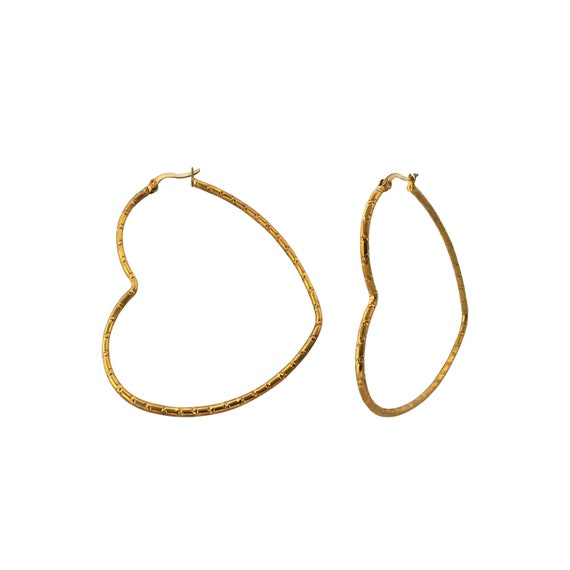 Gold Heart Surgical Steel Hoops Boho chic earrings Heart earrings.