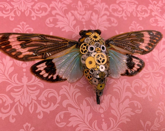 DISCOUNTED - Steampunk Clockwork Turquoise Cicada - Rose Pink Damask: Oddities Curiosities Gothic Macabre Victorian Entomology Insect Art