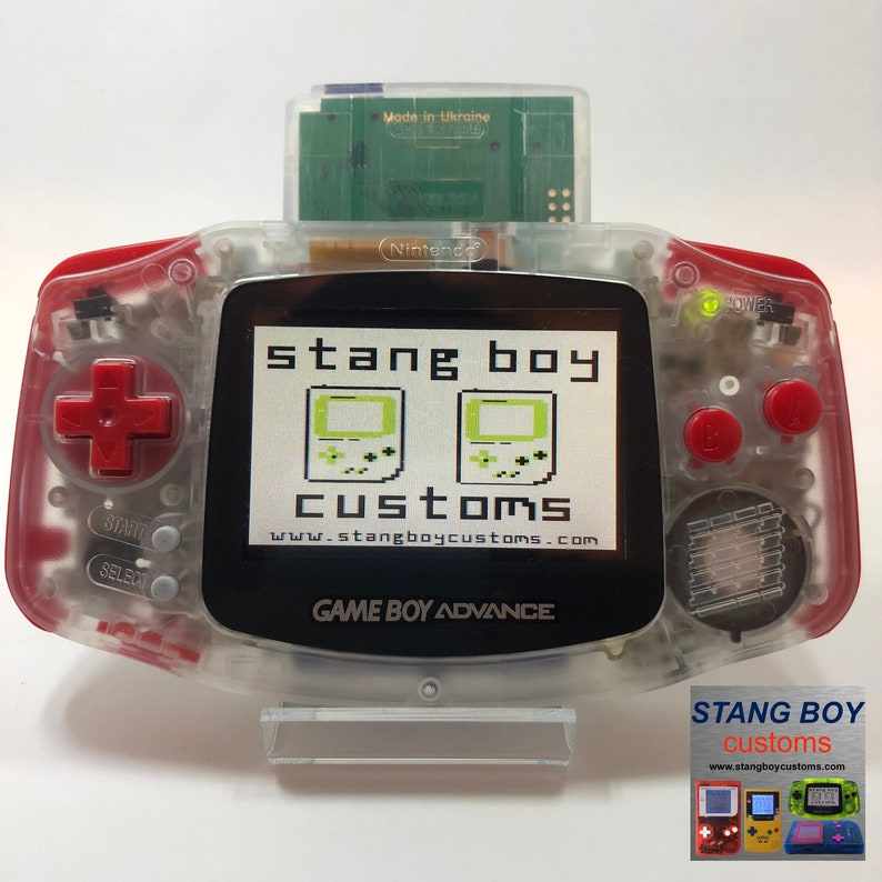 Nintendo Game Boy Advance (Clear) with AGS-101 (SP) backlight mod, red  buttons/grips, and Pokemon model stickers