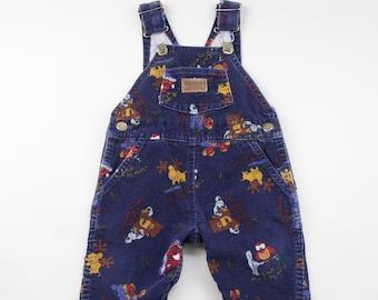 b9ae99030 80s/90s Vintage OshKosh B'Gosh Animal Print Corduroy Vestbak Overalls w  Adjustable Straps + Snap Button Legs, Baby/Toddler Size 12 Months
