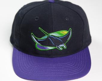 165fa56ca37 90s Era Vintage MLB Tampa Bay Devil Rays Baseball Snapback Hat by Logo 7  Athletic