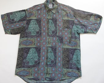 0e714112151a6 90s Era Vintage Multi-color Printed Paisley Tribal Motif Collared Silk Shirt