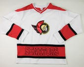 90s/00s Era Vintage NHL Ottawa Senators Hockey Jersey, Made in China, Youth/Kids/Children's Size Large (14/16), could fit a smaller adult