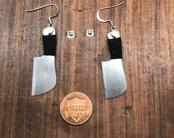 Chef Butcher Meat Cleaver Earrings - Steampunk