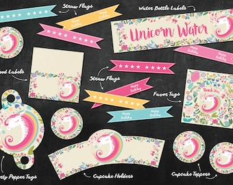 Unicorn Party Pack - Digital Designs (7 Pieces included)