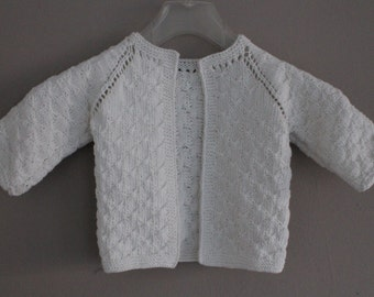 Baby Cardigan - hand knitted, white, 0-12 months