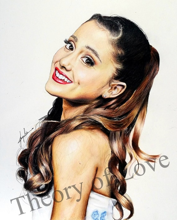Ariana grande original colored pencil drawing