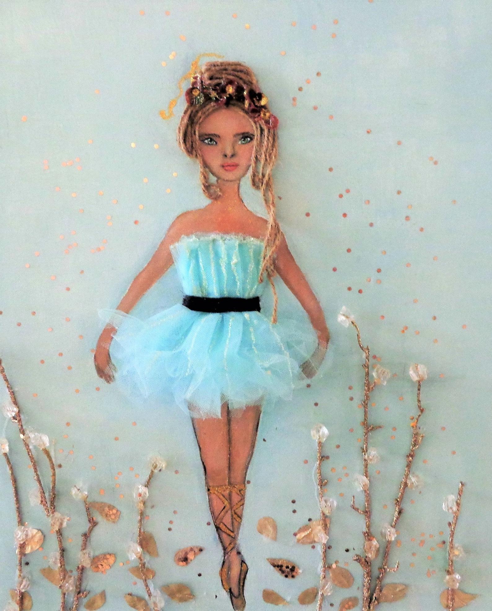 ballerina art ballet dancer canvas wrap blue dance decor girls room fine art print