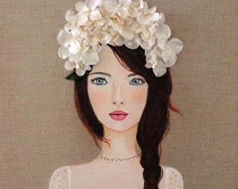 Fashion Girl Canvas Girl Portrait Beige and White Girl with Flowers Beautiful Girls Face Romantic Decor Feminine Wall Art