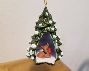 Ceramic Christmas Tree with Deer Ornament with red bow(#976)