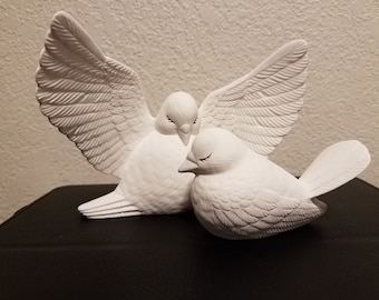 Ceramic Wedding Doves - can be used as Table Decoration or used as Cake Topper (#1065)